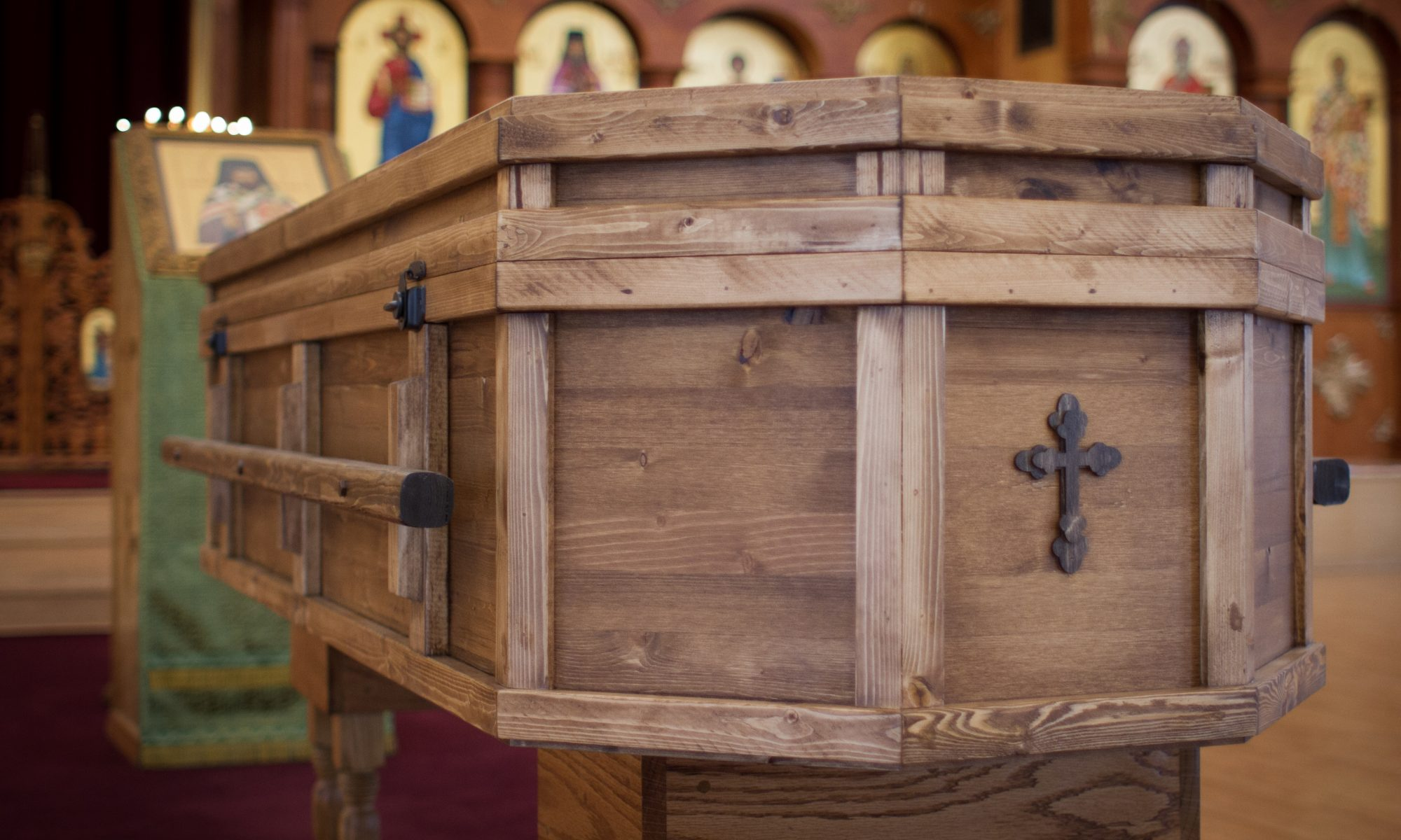 Alaskan Handmade casket with cross
